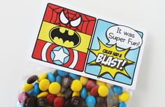 "Superhero Collection (Spiderman Batman Capt America). Favor Tags (5"" fold over). DIY Printable Design. Pinkadot Shop on Etsy, $6.00"