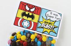 superhero favors, gift bags, birthday parti, superhero collect, tag