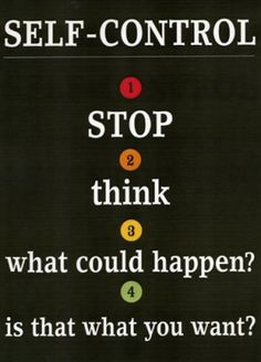 Self-control steps: stop, think, consequences, action?