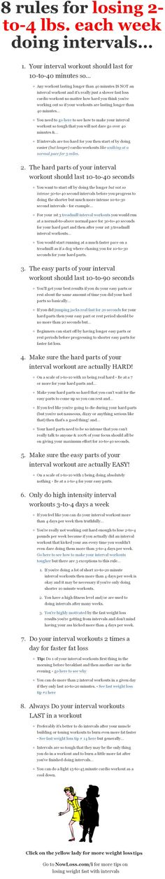 How to lose 2-to-4 pounds each week doing intervals or high intensity workouts.
