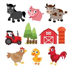 More than a million free vectors, PSD, photos and free icons. Exclusive freebies and all graphic resources that you need for your projects Dyi Crafts, Baby Crafts, Crafts For Kids, Farm Animal Crafts, Farm Animals, Montessori Activities, Toddler Activities, Farm Vector, Tractor Pictures