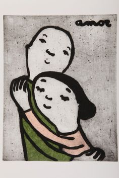 Available for sale from Ode to Art, Eva Armisen, Love- Amor Carborundum Etching and Collage, 70 × 50 cm Hugs, Only Lovers Left Alive, Affordable Art Fair, Spanish Artists, Warm Colors, Colours, Happy Kids, Installation Art, Art For Kids