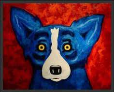 """Saw this print years ago in New Orleans.   The artist is George Rodrigue.   """"I never felt compelled to  """"get my story straight"""" about the Blue Dog was that itself isn't a character in narrative or a cartoon-it is nothing more tabs nothing less than a reflection of all truths, joys, sorrows, dreams, and love of its creator."""""""