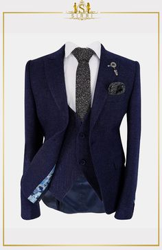 Keep your young man's style tight with this sleek suit set. Using a textured fabric with a rich navy blue tone this is a complete boys suit set that has all you need for when you need a suit for a formal event. Shop now at SIRRI kids #boys wedding outfits #prom suits for boys #page boy suit #boys suits sale