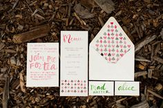 watercolor print invitations // photo by Simply Sarah // http://ruffledblog.com/alice-in-wonderland-wedding-inspiration