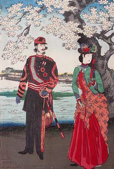 墨田花高貴遊覧 The Meiji Ladies Visit With The Emperor 楊州周延 Yōshū Chikanobu 1888 Era Meiji, Meiji Restoration, The Last Samurai, Asian History, British History, Art Japonais, Period Outfit, Korean Art, Japanese Outfits
