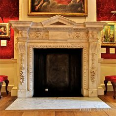 "Marble fireplace in the ""Red Room"" of The Cumberland Suites-Georgian Private Apartments at Hampton Court Palace, c. English Architecture, Beautiful Architecture, Home Fireplace, Fireplace Mantels, Interior Design Inspiration, Home Interior Design, Interior Ideas, Hampton Court, Red Rooms"