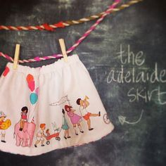 The Adelaide Skirt. Handmade reversible skirt for babies and toddlers in Michael Miller fabric by Sarah Jane