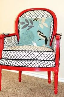 red chair accented with black and white fabric---She'll love this!