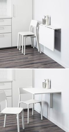 kitchen eating area idea. 16 Wall Desk Ideas That Are Great For Small Spaces // The ledge of this minimalist floating desks lets it be used for storage even when the rest of the desk is folded up.