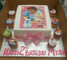 Calumet Bakery Doc McStuffins Cake with cupcakes