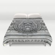 Aztec Darth troopers black and white pencils sketch Duvet Cover #starwars #aztec #darthvader #starlord #troopers #obiwanstatue
