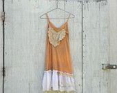 Funky Slip Dress / Eco Vintage Dress / Tattered Artsy Slip Dress