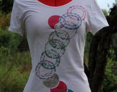 Items similar to Black cat hand painted T-shirt, grey, MSArt handmade, funny on Etsy
