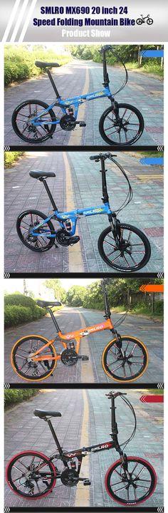 SMLRO MX690 20 inch Folding Mountain Bike 24 Speed 10-spoke Integral Wheel Aluminum Alloy Frame Double Disc Brakes Cycling Bicycle
