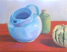 "Daily Paintworks - ""Blue Pitcher, 11x14 Oil on Canvas Panel Still Life"" - Original Fine Art for Sale - © Carmen Beecher"