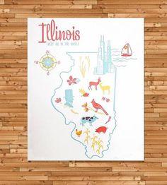 Vintage-Inspired Illinois Map Print | Art Prints & Posters | Paper Parasol Press | Scoutmob Shoppe | Product Detail