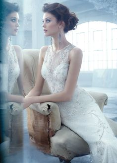 Bridal Gowns: Lazaro A-Line Wedding Dress with Illusion Neckline and No Waist/Princess Seams Waistline