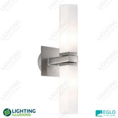 2 Light Eglo Palermo Square Cylinder Opal Glass Vanity Wall Light - Wall Lighting - Lighting - Shop - Lighting Illusions Online