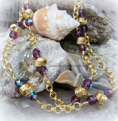 Chainmaille Necklace, Ladies Necklace, Seamless chain, Amethyst Necklace, Love Knot , Gold chain, - pinned by pin4etsy.com