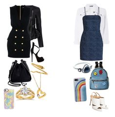 """twin outfit"" by mccoll-elise ❤ liked on Polyvore featuring Marissa Webb, Balmain, Christian Louboutin, Valentino, Roberto Coin, Annello, Casetify, Dorothy Perkins, IMoshion and Bali"