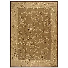 @Overstock - Courtyard all-weather rug features a transitional design Indoor/Outdoor rug has a brown background and a natural pattern Area rug is made of 100-percent fine-spun polypropylene pilehttp://www.overstock.com/Home-Garden/Indoor-Outdoor-Oasis-Brown-Natural-Rug-710-x-11/4009610/product.html?CID=214117 $177.09
