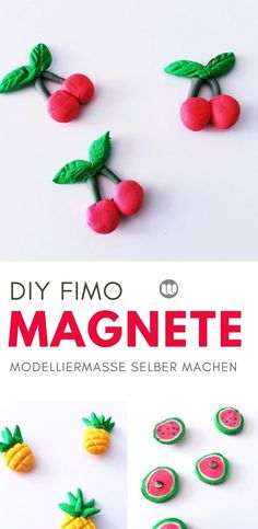 DIY Kühlschrank-Magnete: Fruchtige Magnete aus Modelliermasse selber machen #diy #Magnete #Fimo #polymerclay #selberMachen #Kindergarten #selbstgemacht #Deko #Bastelidee #Basteltipp #Modelliermasse #Kaltporzellan #Rezept #Anleitung #Sommer #Früchte #fruits #geschenkidee