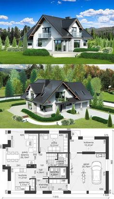 haus design Unique Country House Plan With Four Bedrooms And Three Bathrooms Porch House Plans, Basement House Plans, House Plans One Story, House Floor Plans, Garage Plans, Four Bedroom House Plans, House Porch, Dream House Plans, Country Modern Home