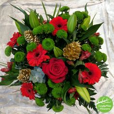 Fresh Christmas Bouquets are available to be delivered anywhere in the country via local florists. Ready for order now! Red Christmas Flower, Local Florist, Floral Wreath, Florists, Wreaths, Bouquets, Flowers, Fresh, Country