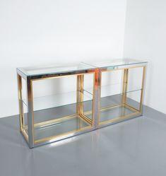 Renato Zevi Pair of Étagères Shelving Console Chrome and Brass Glass Hollywood Regency, Glass Shelves, Chrome Finish, Clear Glass, Shelving, Console, Brass, Interior Design, Storage