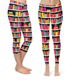 Library Book Case  - Capri & Full Length Leggings in XS-3XL - Sports or Fleece Fabric - Gym, Thick Winter  000738