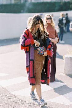 Clara Racz, after Kenzo, Paris, October 2015. Technicolour cardi-coat (in a beautiful, fluffy-cloud texture) + 70's button-through suede skirt. Recreate Clara's look (kind of): Suede skirt: Glamorou