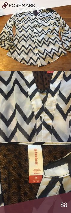 Black & white chevron blouse. Lace cutout on back NWT No Boundaries Tops Blouses