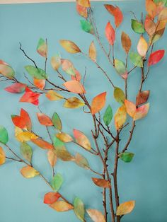 The leaves are made from water colors and coffee filters and then simply glued on branches. What a perfect activity for a rainy autumn day :)