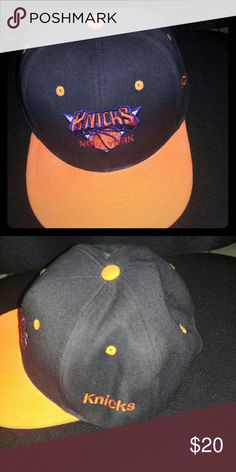 Knicks snapback hat Orange and black snapback hat with adjustable strap Accessories Hats