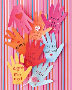 Send a touching message with valentines traced from little hands.