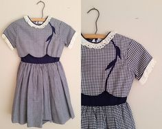 Vintage 1950s Girls Dress / Blue and White Gingham Cotton Dress / 50s Dress / Size 10