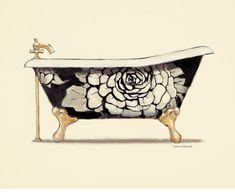 Art Print: Floral Bath Wall Art by Marco Fabiano by Marco Fabiano : Bath Art, Bathroom Art, Bathrooms, Bathroom Prints, Framed Artwork, Wall Art Prints, Floral Bath, Cool Posters, Vintage Art
