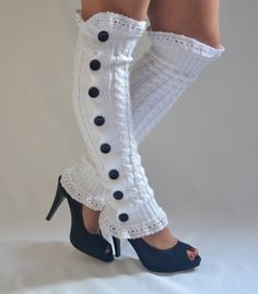 BS5362- White cable knit slouchy button lace knit lace leg warmers-Boot socks-Boot cuffs-Leggings-Yoga socks-Over the knee socks-XS-S-M-L-XL