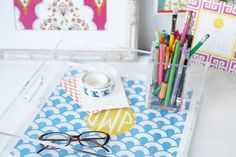 This monogrammed lucite tray will help keep your desk organized!