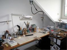 Jewelers Bench Gallery Show others how you have setup your jewelry studio workshop HandmadeJewelryTi. Studio Layout, Jewellers Bench, Bead Storage, Jewelry Insurance, My Workspace, Jewelry Tools, Wire Jewelry, Handmade Jewelry, Spice Jars