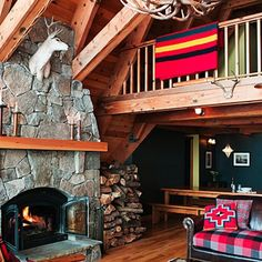 This Tahoe A-frame, shown below, was once a rundown rental cabin, but thanks to a lot of hard work from its owners, it's been transformed into a rustic chic getaway.
