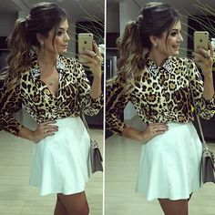 ✤ⒽⓞⒿⒺ✤ Saia de couro e camisa by @hitoficial  Golinha aberta ou fechada? •…