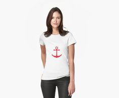Illustration of a red ship anchor on a navy blue stripped background. © Amalia Ferreira-Espinoza www.afeimages.ca