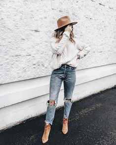 Light gray sweater / white mom jeans ripped camel ankle boots    Fall winter spring