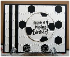 handmade birthday card ... black and white ... hexagons ... soccer ball with the sentiment ... Stampin' Up!