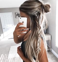 half top knot with a side braid - boho hair