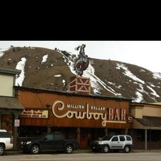 Jackson Hole, WY - I remember sitting on a saddle-barstool while having a beer here in 2003.  That night, I missed a Bob Dylan concert at SnowKing mountain and Phish playing a few sets (it may have been in this bar) while in town.