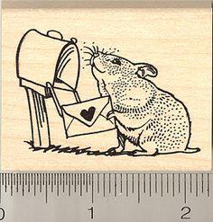 Hamster Mailing Valentine Rubber Stamp (H8919) $10 at RubberHedgehog.com