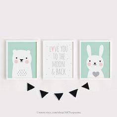 Printable pépinière Art Set de 3 chambre affiche art mural enfants chambre décor art de chambre enfant menthe gris ours et lapin imprimer ensemble